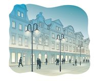 Old town square at night. Vector illustration of Old town square at night Royalty Free Stock Photo