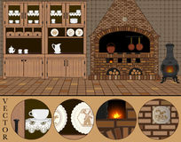 Vector. Illustration of an old traditional (Dutch) kitchen. Vector. Illustration of an old traditional kitchen with fireplace, iron stove, copper kettle and Royalty Free Stock Photo