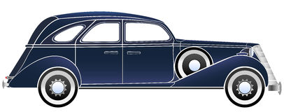 Vector illustration of old vintage car. Royalty Free Stock Photo