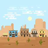 Vector illustration of an old western town in a daytime. Stock Images