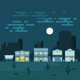 Vector illustration of an old western town at night. Saloon, hotel and other detailed buildings and objects. Wild West desert landscape background vector illustration