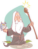 Vector illustration of a old Wizard cartoon. Stock Photography