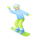 Vector illustration of old woman in snowboarding clothes on snowboard.  Royalty Free Stock Photos