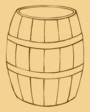 Vector illustration of old wooden barrel Royalty Free Stock Photo