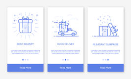 Vector Illustration of onboarding app screens and flat line web icons for e-commerce mobile apps. Vector Illustration of onboarding app screens and flat line vector illustration