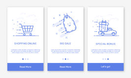 Vector Illustration of onboarding app screens and flat line web icons for e-commerce mobile apps. Stock Image