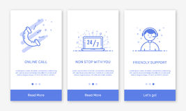 Vector Illustration of onboarding app screens and flat line web icons for e-commerce mobile apps. Royalty Free Stock Photo