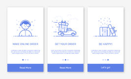 Vector Illustration of onboarding app screens and flat line web icons for e-commerce mobile apps. Stock Photo