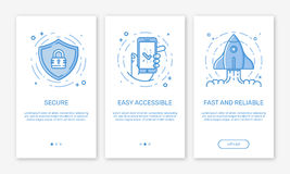 Vector Illustration of onboarding app screens and web concept design team for mobile apps in flat line style. Vector Illustration of onboarding app screens and Royalty Free Stock Image