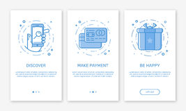 Vector Illustration of onboarding app screens and web concept online payments application for mobile apps in line style. Stock Photos