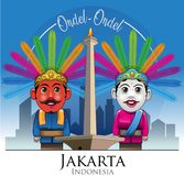 Ondel-ondel and Monas mascot of DKI Jakarta province. Vector illustration, Ondel-ondel and Monas one of the mascot or icon Jakarta Stock Images