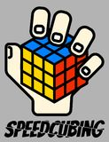 Vector illustration One-Handed Rubik`s Cube Speedsolving logo royalty free illustration