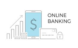 Vector illustration for online banking. Concept for mobile bank and internet payment. Flat banner, eps 10.  Royalty Free Stock Photography