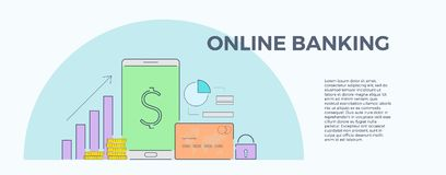 Vector illustration for online banking. Concept for mobile bank and internet payment. Flat banner, eps 10.  Stock Photo