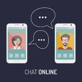 Vector illustration of online chat man and woman app icons in flat style. Stock Photos