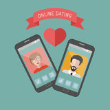 Vector illustration of online dating man and woman app icons in flat style. Vector illustration of online dating man and woman app icons in flat style Stock Photos