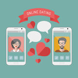 Vector illustration of online dating man and woman app icons on mobile phone displays with speech bubbles in flat style Stock Photo