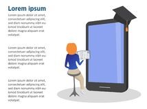 Online training, workshops and courses visualization flat 3d. Small girl and big telephone. stock illustration