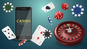Vector illustration Online Poker casino banner with a mobile phone, chips, playing cards, roulette and dice. Marketing Luxury vector illustration