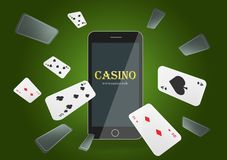 Vector illustration Online Poker casino banner with a mobile phone and playing cards. Marketing Luxury Banner Jackpot Online stock illustration