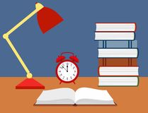 Vector illustration of an open book, alarm clock and a reading lamp on the desk. Vector illustration of an open book, alarm clock and a reading lamp on the desk royalty free illustration