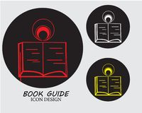 Book guide icon design with three colors with black background vector illustration