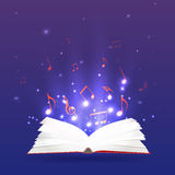Vector illustration of an open book with rays and musical notes Royalty Free Stock Photos