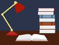 Vector illustration of an open book and a reading lamp on the desk. Royalty Free Stock Photos