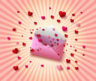Vector illustration of Open envelope with  hearts Royalty Free Stock Image