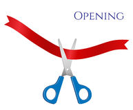 Vector illustration of open - scissors and tape. Vector illustration of the opening. Blue scissors and red ribbon vector illustration