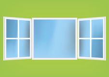 Vector illustration of an open window with shades stock illustration