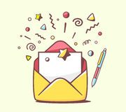 Vector illustration of opened yellow envelope with pen and stars Royalty Free Stock Images
