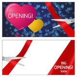 Vector illustration of opening - scissors and tape. Vector illustration of the opening. Red and yellow balloons. scissors and red ribbon vector illustration