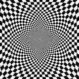 Vector illustration of optical illusion black and white chess background Stock Photos