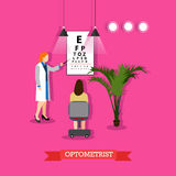 Vector illustration of optometrist checking patients vision in flat style Stock Image