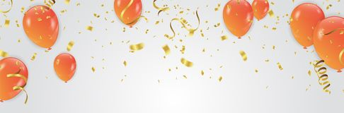 Vector Illustration of Orange Balloons celebration background te stock photography