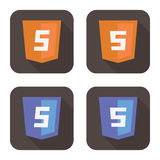 Vector illustration of orange and blue html shield Stock Photography