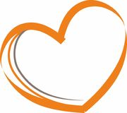 Vector illustration of an orange heart on a white background royalty free illustration