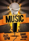 Vector illustration orange music festival concert party flyer or poster design template with microphone. Place for text and cool effects in the background Royalty Free Stock Images