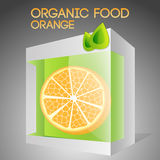 Vector illustration of orange in packaged. Royalty Free Stock Images