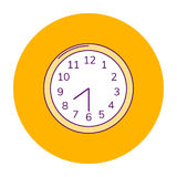 Vector illustration orange round icon, wall clock Royalty Free Stock Photography