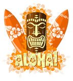 Vector illustration of orange tiki mask Royalty Free Stock Photography