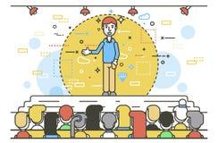 Vector illustration orator spokesman spokesperson speaker businessman rhetor hand in pocket politician speech speaking Stock Image