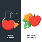 Healthy and gmo food concept. Vector illustration of organic apple and flask with pesticides and chemicals. Stock Photo