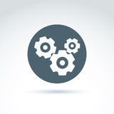 Vector illustration of an organization system, strategy concept. Cog-wheels and gears placed in a circle, service icon. Business and manufacturing process Stock Images