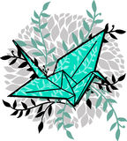 Vector illustration with origami crane Royalty Free Stock Photography