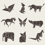 Vector illustration of origami paper animals. And bird Royalty Free Stock Image