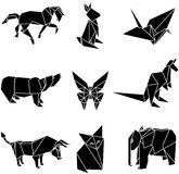 Vector illustration of origami paper animals. And bird Royalty Free Stock Photos