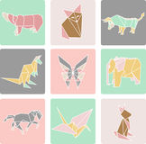 Vector illustration of origami paper animals. And bird Royalty Free Stock Photo