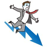 Business man falling from graph. Vector illustration.Original paintings and drawing royalty free illustration